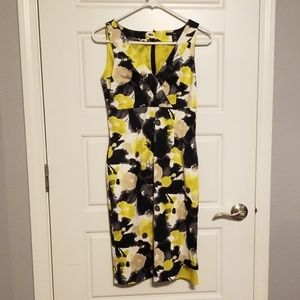 H&M yellow and black floral dress